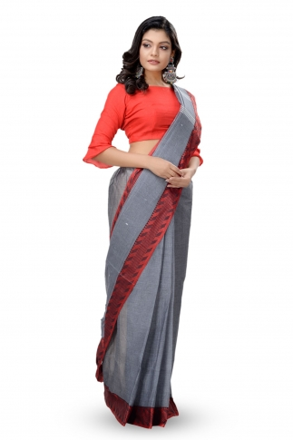Grey With Red Colour Border Bengal Handwoven Tant Saree With Out Blouse 1