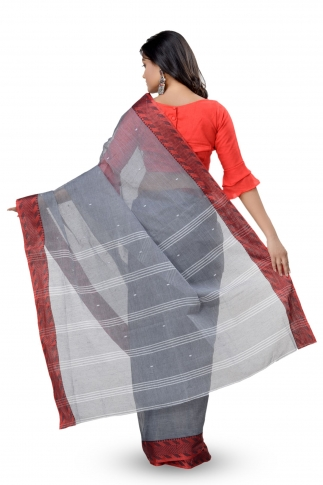 Grey With Red Colour Border Bengal Handwoven Tant Saree With Out Blouse 2
