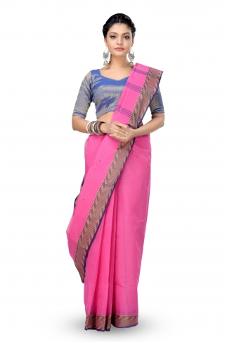 Pink Colour Bengal Handwoven Tant Saree With Out Blouse