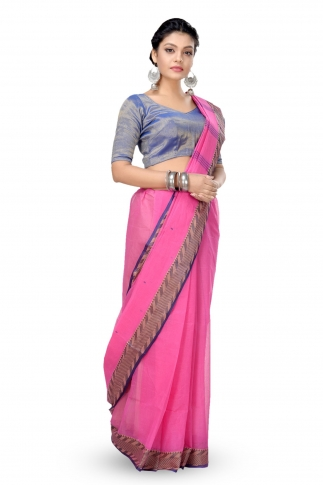 Pink Colour Bengal Handwoven Tant Saree With Out Blouse 1