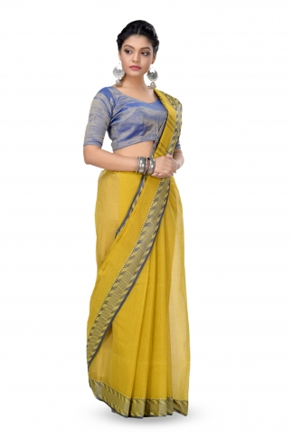 Mehendi Green Colour Bengal HandWoven Tant Saree With Out Blouse 1