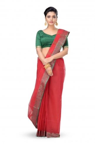 Red Colour Bengal Handwoven Tant Saree With Out Blouse