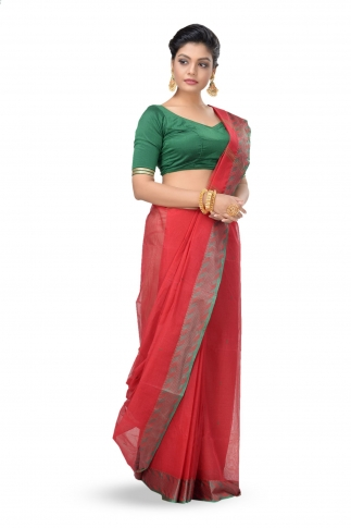 Red Colour Bengal Handwoven Tant Saree With Out Blouse 1