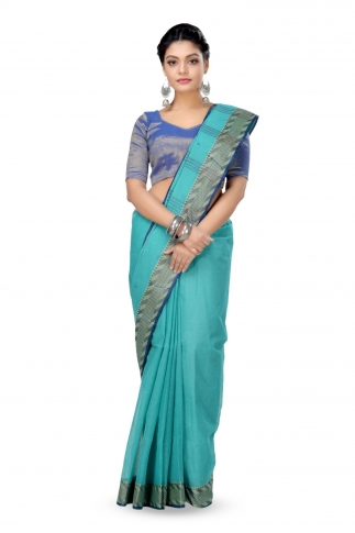 Teal Blue Colour Bengal Handwoven Tant Saree With Out Blouse