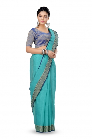 Teal Blue Colour Bengal Handwoven Tant Saree With Out Blouse 1