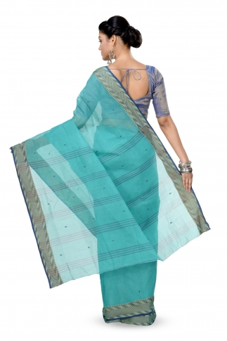 Teal Blue Colour Bengal Handwoven Tant Saree With Out Blouse 2