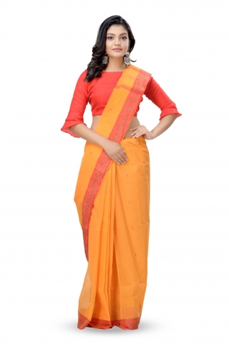 Mustered Yellow With Red Colour Border Bengal Handwoven Tant Saree Without Blouse
