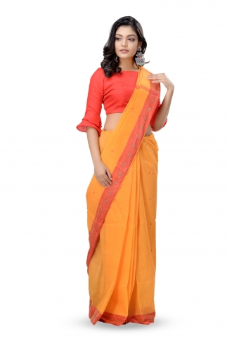 Mustered Yellow With Red Colour Border Bengal Handwoven Tant Saree Without Blouse 1