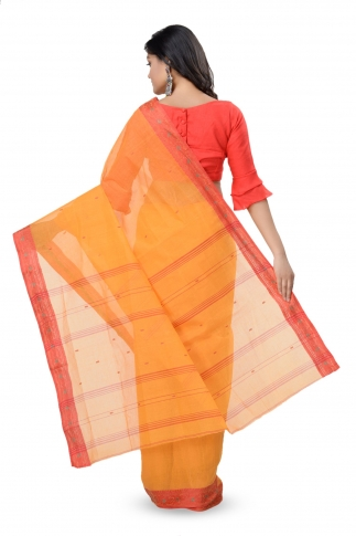 Mustered Yellow With Red Colour Border Bengal Handwoven Tant Saree Without Blouse 2