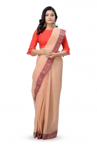Beige Colour Bengal Handwoven Tant Saree Wit Out Blouse