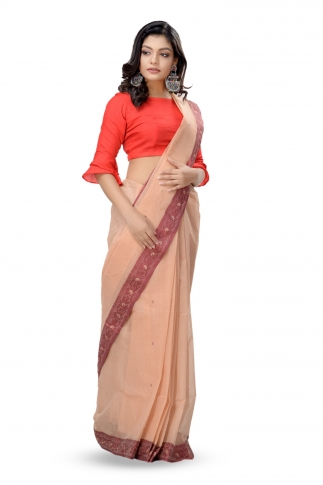 Beige Colour Bengal Handwoven Tant Saree Wit Out Blouse 1