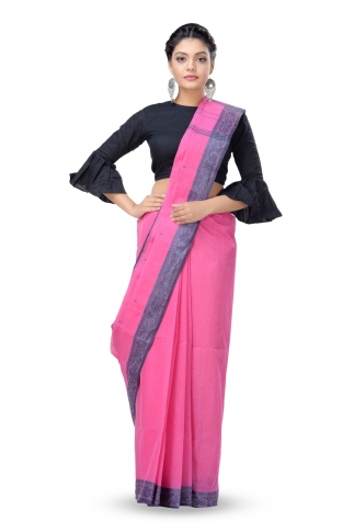 Pink Colour Bengal Handwoven Tant Saree Without Blouse