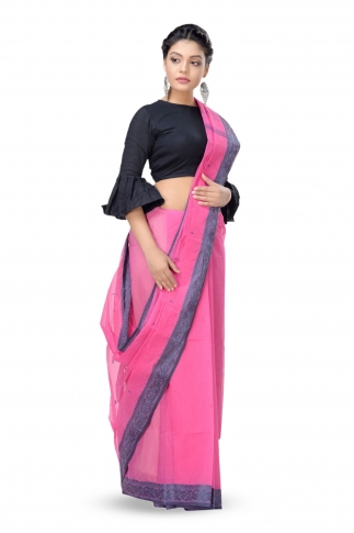 Pink Colour Bengal Handwoven Tant Saree Without Blouse 1