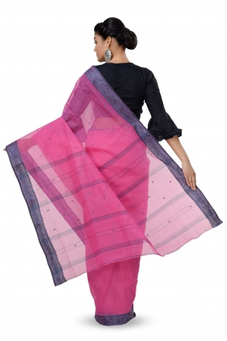 Pink Colour Bengal Handwoven Tant Saree Without Blouse 2