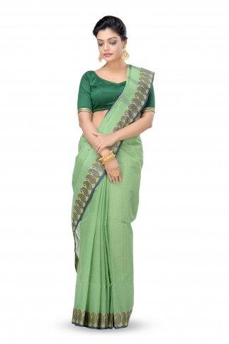 Green Colour Bengal Handwoven Tant Saree Without Blouse