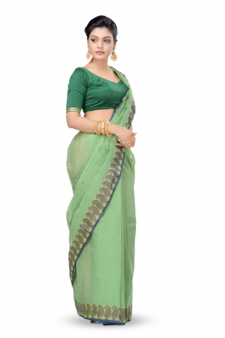 Green Colour Bengal Handwoven Tant Saree Without Blouse 1