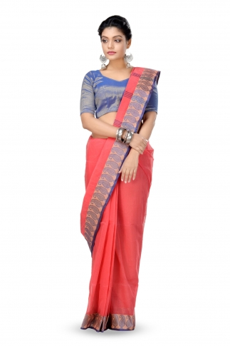 Peach Colour Bengal Handwoven Tant Saree Without Blouse