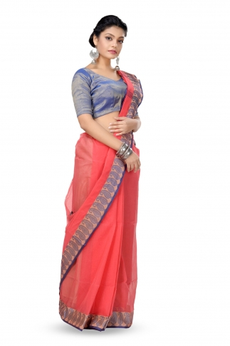 Peach Colour Bengal Handwoven Tant Saree Without Blouse 1