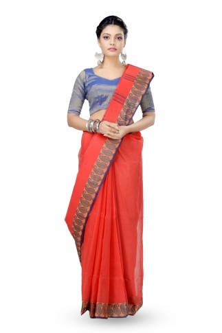 Orange Colour Bengal Handwoven Tant Saree without Blouse