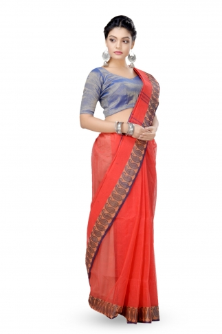 Orange Colour Bengal Handwoven Tant Saree without Blouse 1