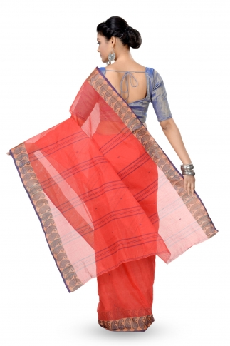 Orange Colour Bengal Handwoven Tant Saree without Blouse 2