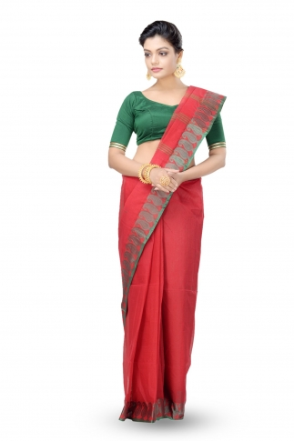 Red Colour Bengal Handwoven Tant Saree Without Blouse