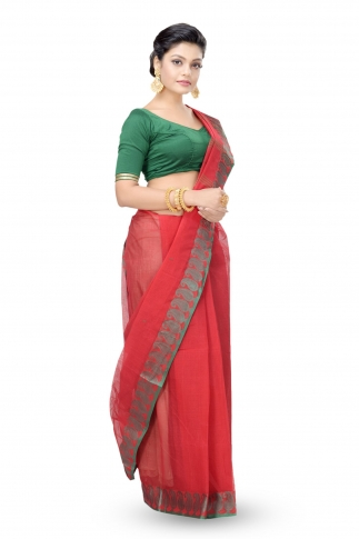 Red Colour Bengal Handwoven Tant Saree Without Blouse 2
