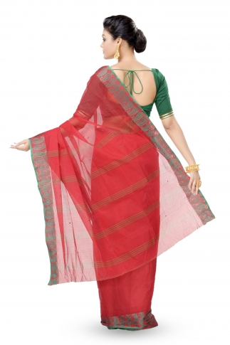 Red Colour Bengal Handwoven Tant Saree Without Blouse 0