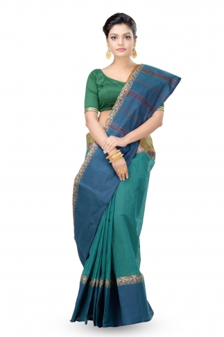 Teal Blue With Navy Blue Border Bengal Handwoven Tant Saree Without Blouse