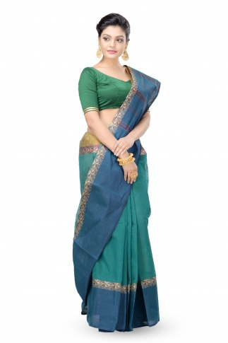 Teal Blue With Navy Blue Border Bengal Handwoven Tant Saree Without Blouse 1