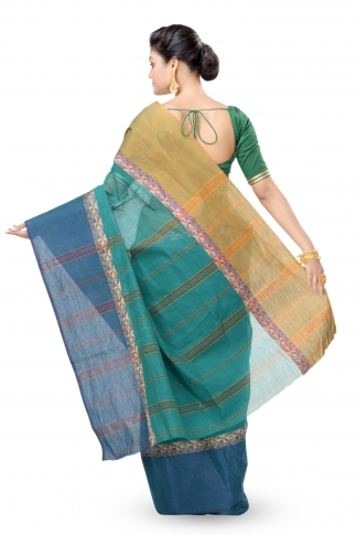 Teal Blue With Navy Blue Border Bengal Handwoven Tant Saree Without Blouse 2