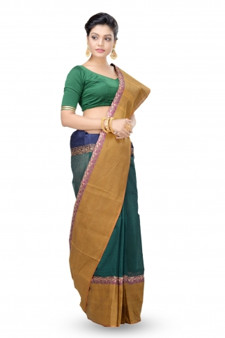 Bottle Green Colour Bengal Handwoven Tant Saree With Out Blouse 1