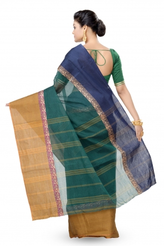 Bottle Green Colour Bengal Handwoven Tant Saree With Out Blouse 2