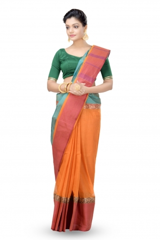Multi Colour Bengal handwoven Tant saree With Out Blouse