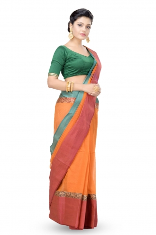 Multi Colour Bengal handwoven Tant saree With Out Blouse 1
