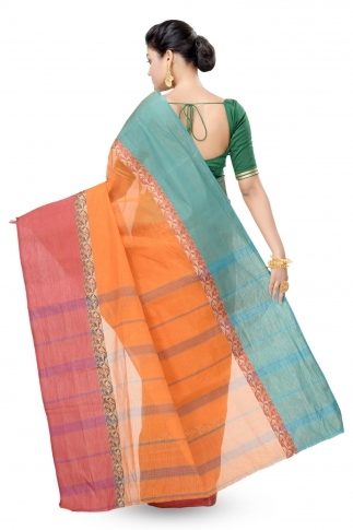 Multi Colour Bengal handwoven Tant saree With Out Blouse 2