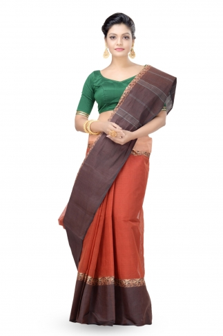 Multicolour Bengal Handwoven Tant Saree Without Blouse