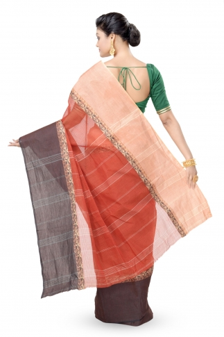 Multicolour Bengal Handwoven Tant Saree Without Blouse 2