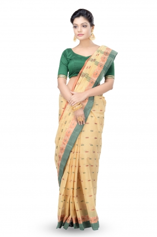 Beige Colour Bengal Handwoven Tant Saree Without Blouse