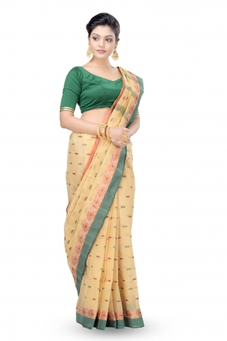 Beige Colour Bengal Handwoven Tant Saree Without Blouse 1