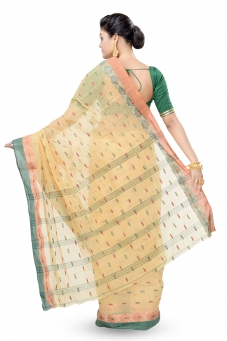 Beige Colour Bengal Handwoven Tant Saree Without Blouse 2