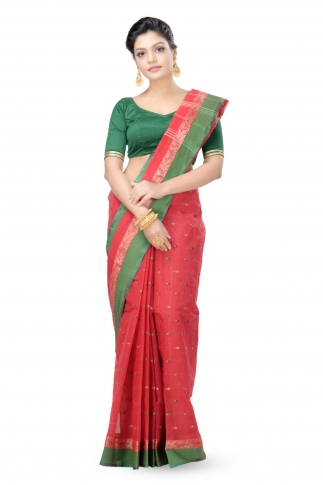 Red with Green Border Bengal Handwoven Tant Saree With Out Blouse
