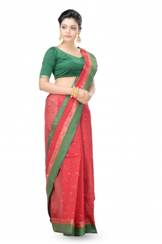 Red with Green Border Bengal Handwoven Tant Saree With Out Blouse 1