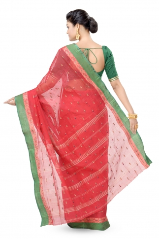 Red with Green Border Bengal Handwoven Tant Saree With Out Blouse 2