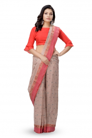 Beige With Red Border Bengal Handwoven Tant Saree With Out Blouse