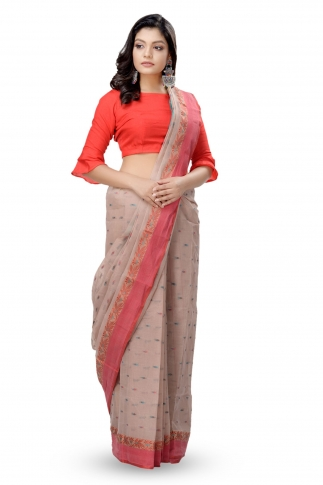 Beige With Red Border Bengal Handwoven Tant Saree With Out Blouse 1