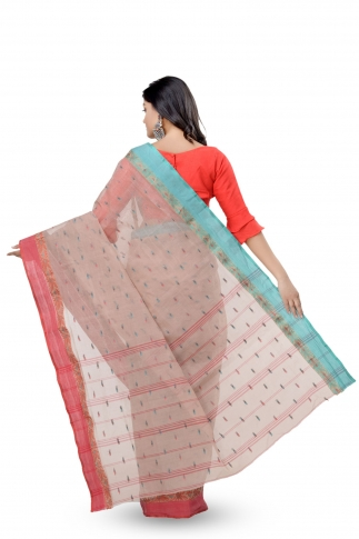 Beige With Red Border Bengal Handwoven Tant Saree With Out Blouse 2