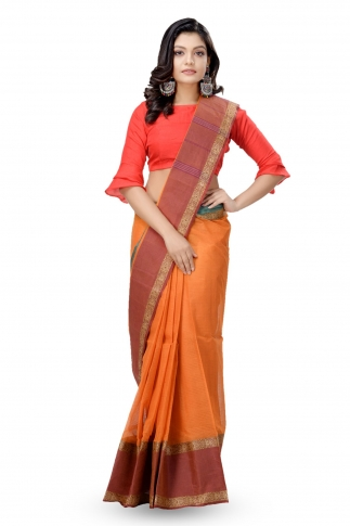 Mustered With Rust Colour Border Bengal Handwoven Tant Saree without Blouse