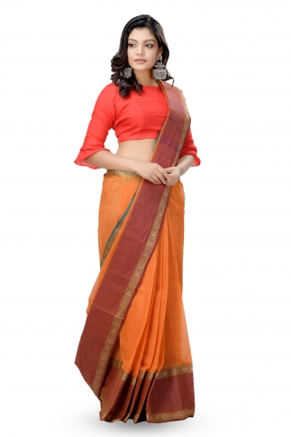 Mustered With Rust Colour Border Bengal Handwoven Tant Saree without Blouse 1