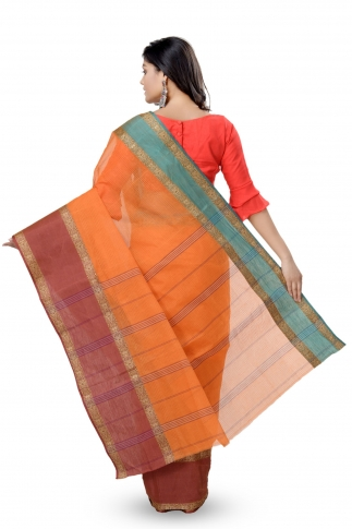 Mustered With Rust Colour Border Bengal Handwoven Tant Saree without Blouse 2